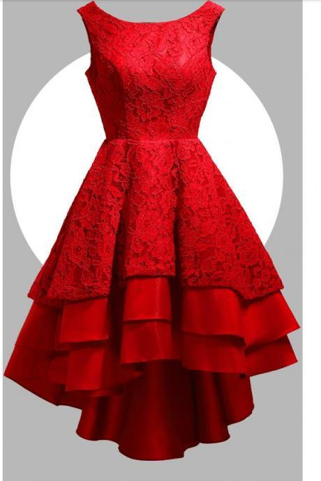 2017 New High Low Red Short Prom Dresses A line scoop Lace Satin Tiers Formal Party Dress Elegant Backless Girls Graduation Dress