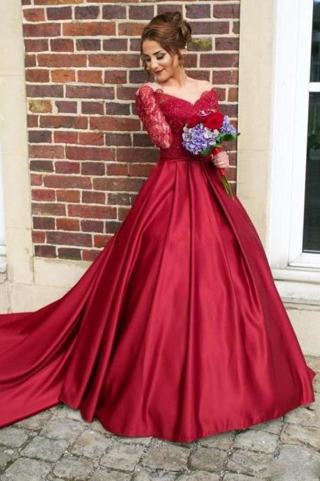 Arabic Fancy A-line Burgundy Wedding Dresses 2017 Sheer Neck Lace Appliques Bodice Button Back Long Sleeves Bride Wedding Gowns Custom Made Bridal Dress