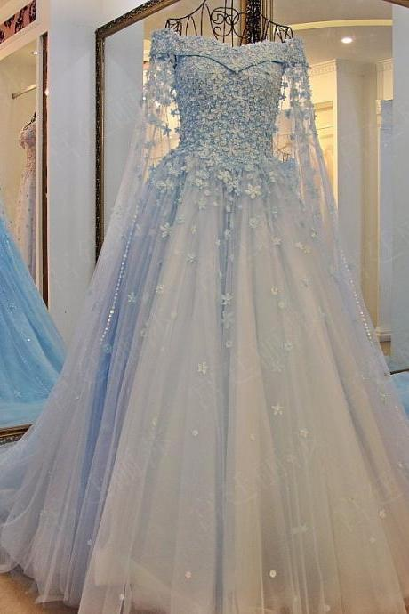 Off the Shoulder Elegant Prom Dresses with Long Train Light Blue Lace Appliques Beads Women Formal Dress Custom Made Party Gowns