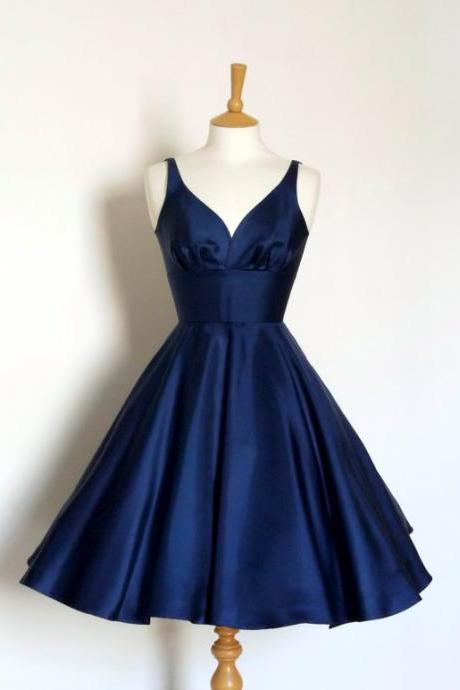 Navy V- Neckline Satin A-Line Homecoming Dress