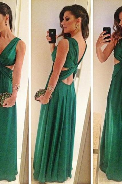 Green A-Line Sleeveless Floor-Length V-Neck Sexy 2017 Prom Dress Women Formal Party Gowns