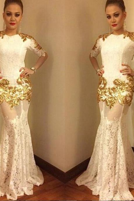 2017 Lace Mermaid Half-Sleeves Sexy Gold-Appliques Prom Dress Court Train Women Evening Dresses Celebrity Dress