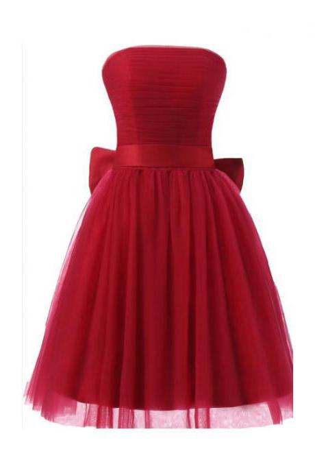 Burgundy Tulle Strapless Straight-Across Short Wedding Guest Dress Featuring lace-Up Bow Accent Back