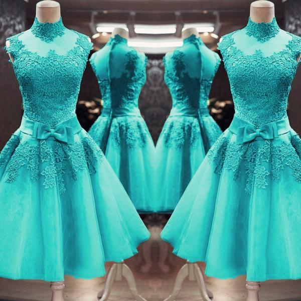 Vintage High Neck Turquoise Prom Dresses Short Lace Appliques Homecoming Party Dress with Bow sashes Women Formal Party Gowns