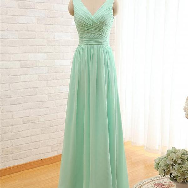 2017 Long Cheap Mint Green Bridesmaid Dresses Floor Length Chiffon A-Line Wedding Party Dress Prom Gowns