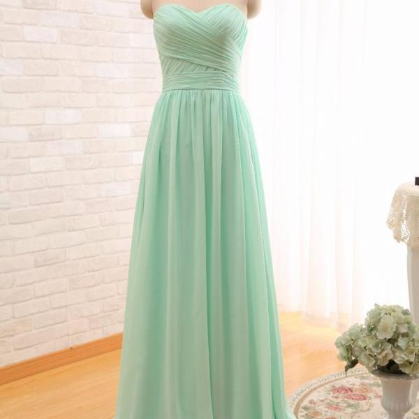 2017 Long Cheap Mint Green Bridesmaid Dresses Sweetheart Floor Length Chiffon A-Line Wedding Party Dress Prom Gowns