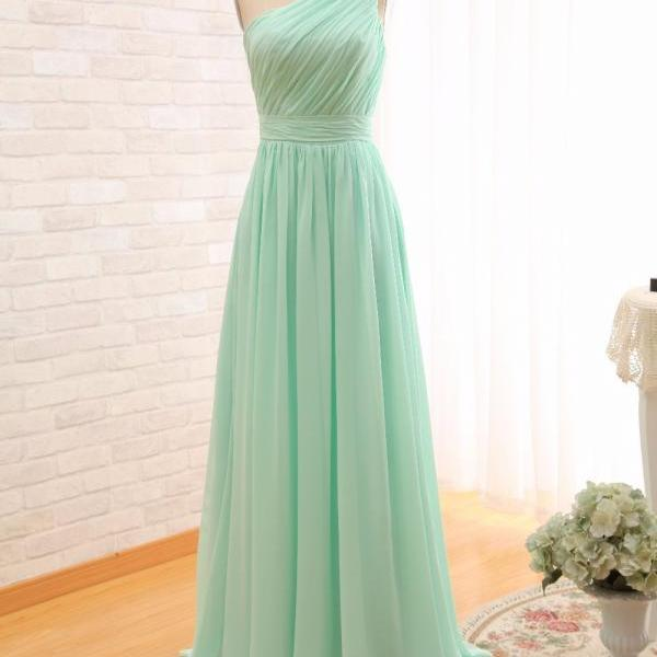 2017 Long Cheap Mint Green Bridesmaid Dresses One Shoulder Floor Length Chiffon A-Line Wedding Party Dress Prom Gowns