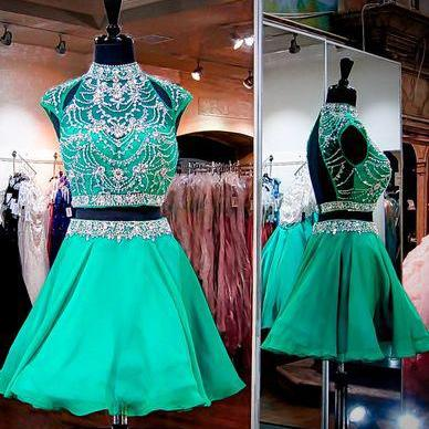 Green High Neck Homecoming Dresses, Two Pieces Rhinestone Homecoming Dresses, Open Back Chiffon Homecoming Dresses, Short Prom Dresses, Homecoming Dress