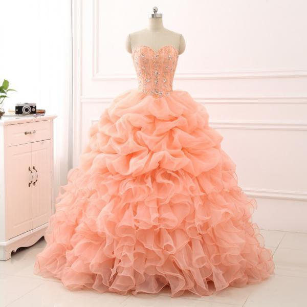 New 2018 Ball Gown Quinceanera Dress Long Sweet 16 Years Birthday Party Gowns with Beaded Sequins Lace-up Back Prom Dress