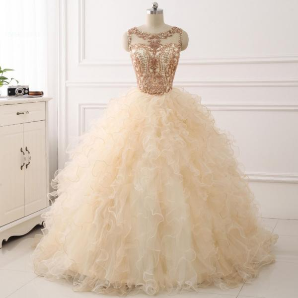 New Champagne 2018 Quinceanera Dress Ball Gown Beaded Long Sweet 16 Years Party Gowns Ruffles Tulle Prom Dress