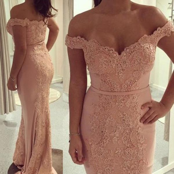 Off the shoulder Lace Appliqued Mermaid Prom Dresses with Sweep Train Formal Gowns
