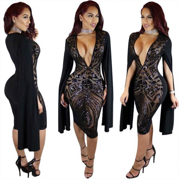 Womens Sexy Sequin Deep V-Neck Cape Sleeve Bodycon Cocktail Club Midi Dress Size S