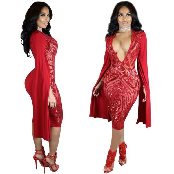 Womens Sexy Sequin Deep V-Neck Cape Sleeve Bodycon Cocktail Club Midi Dress Red