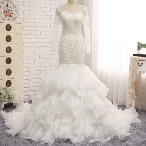 Ivory Long Sleeve See Through Lace Mermaid Organza Wedding Dresses, Bridal Gown