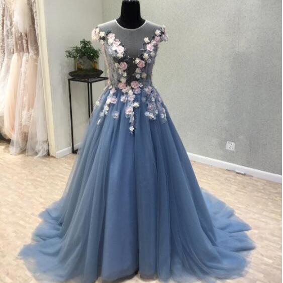 Unique Prom Dress 2017 Sexy Sheer Jewel and Back Prom Gowns Long Elegant Evening Dresses with Flowers Beaded Cap Sleeve