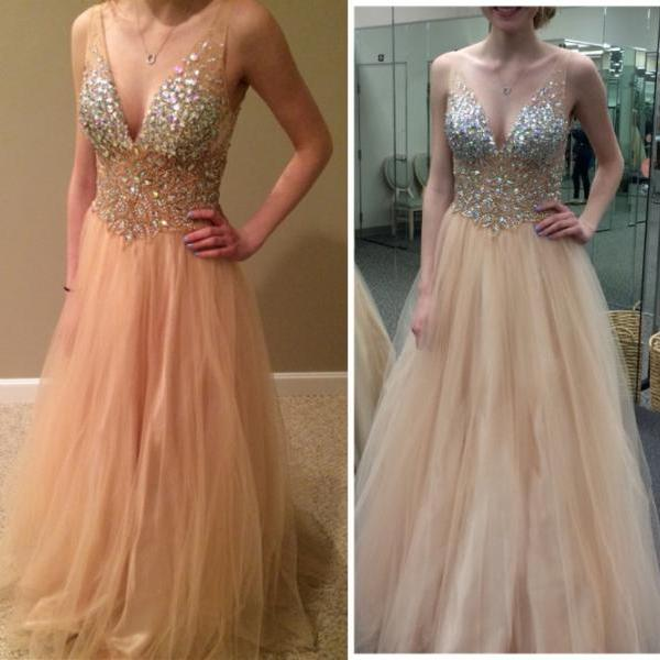 Deep V-neck Champagne Tulle Prom Dresses Crystals Women Party Dresses for Formal Occasion Hand made Dress
