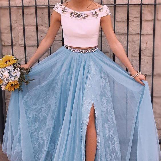 Two Piece Prom Dresses,Off-the-Shoulder Prom Dress,Blue Prom Gown,Split Prom Dress with Beading