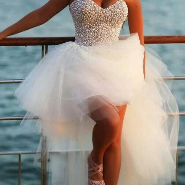 2016 Ball Gowns Prom Dresses Sweetheart Off the Shoulder Evening Dresses Pearls Tulle Wedding Party Dresses Custom Made Party Dress