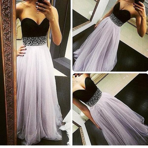 High Quality Light Lavender Tulle Prom Dresses 2016, Long Prom Dresses 2016, Prom Gowns, Evening Gowns