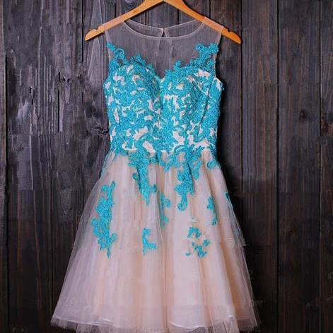 Cute and Lovely Short Tulle Prom Dresses with Appliques, Short Prom Dresses, Prom Dresses 2016, Homecoming Dresses,Champagne Dress with Blue Appliques