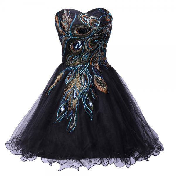 Sexy Tulle Ball Gown Distinctive Embroidery Peacock Pattern Black Party Gown Short Cocktail Dresses Prom Dress 8th Grade Homecoming Dresses