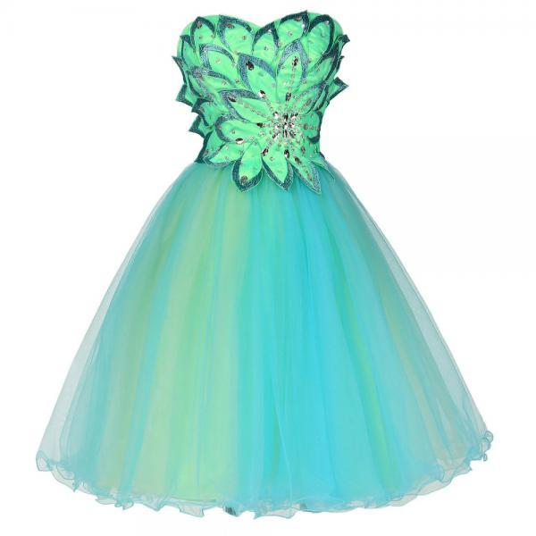 Sweetheart Cocktail Dresses Knee Length Tulle Party Homecoming Dress with Flower Appliques Green Prom Party Dress
