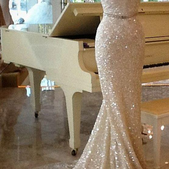 2017 Gorgeous Champagne Prom Dresses,Sexy Strapless Mermaid Prom Dress,Sequins Prom Dress,Formal Prom Dress ,Long Train Evening Dress,