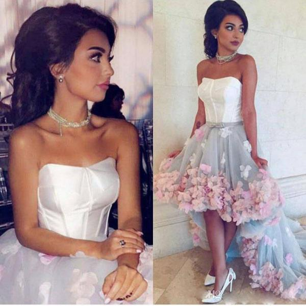 2017 Hi-Lo Prom Dresses with 3D Hand Made Flowers Strapless Sleeveless Ruffle Skirts Court Train Evening Gowns Girls Graduation Party Dress
