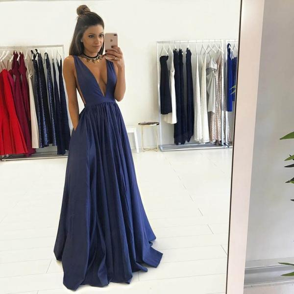 Dark Blue Deep V-neck Prom Dress ,Floor-length Taffeta Evening Party Dress,Backless Women Formal Gowns,Custom made Party Dress