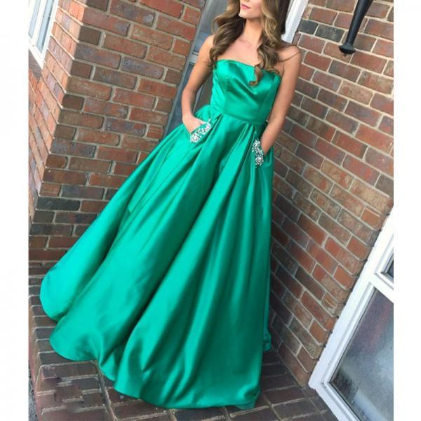 Simple Prom Dresses, Strapless Evening Dresses, Green Color Prom Dress, Off Shoulder Sleeveless Satin Prom Dress,Party Dress