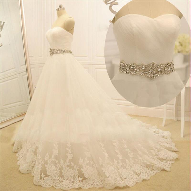 2017 new crystals sashes white long tulle wedding dresses for Wedding dress sashes with crystals